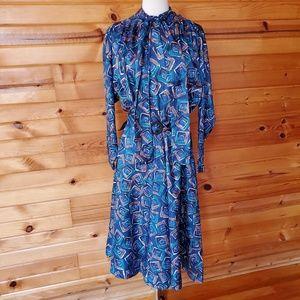 1980s Homemade Silk, Multi-Color Secretary Dress